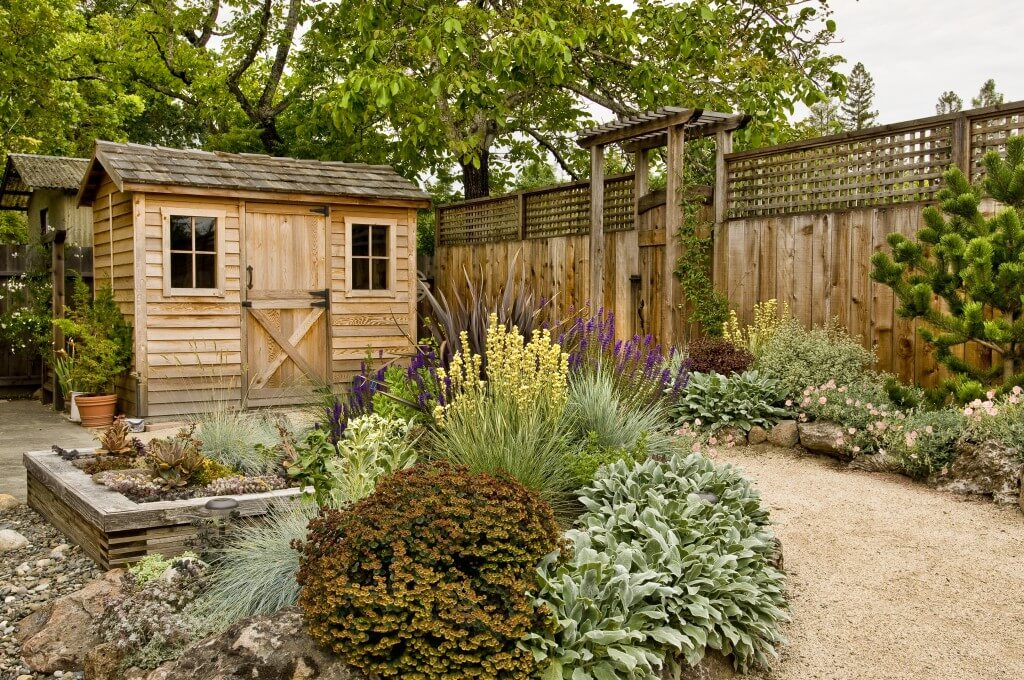 Wooden garden shed with windows