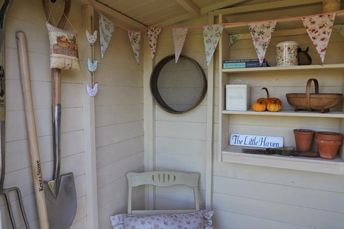 Painted shed interior to make it lighter and more homely