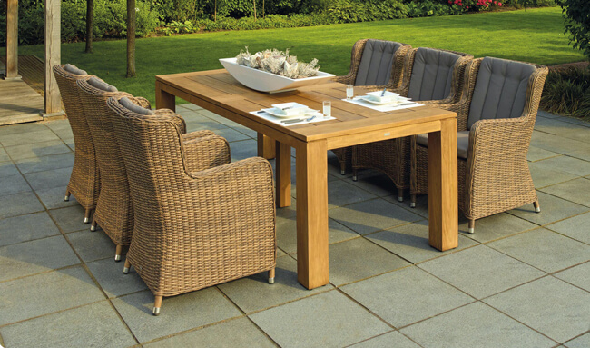 patio furniture set on cleaned garden patio.